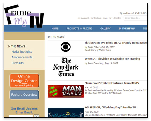Frame My TV - In The News Page Close-up