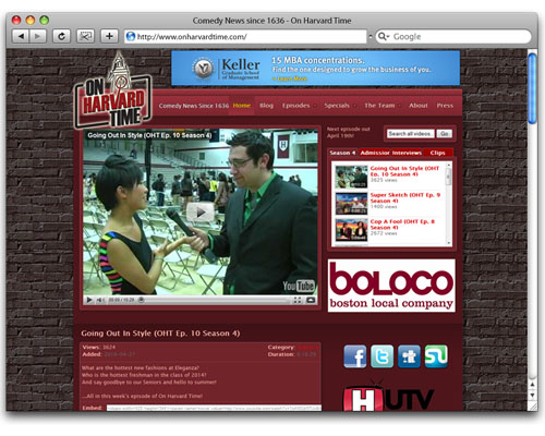 On Harvard Time - Homepage Design