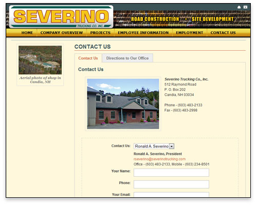 Severino Trucking - Contact Page Design