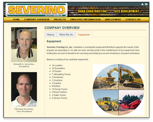 Severino Trucking - Company Page Design