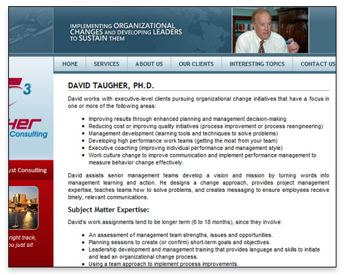 Taugher Change Catalyst Consulting - About Page Design